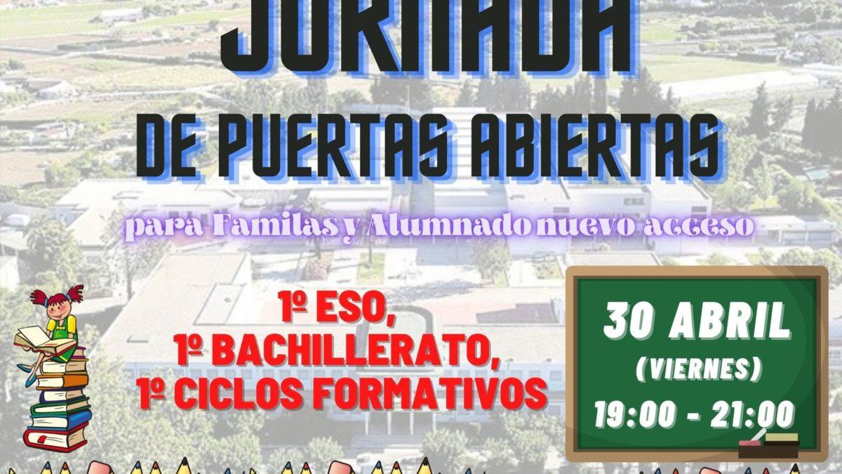 30 de Abril Jornada de Puertas Abiertas Nuevo Alumnado y Familias